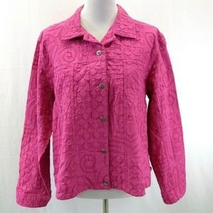 Chicos 2 Jacket Pink Button Down Cotton Long Slv